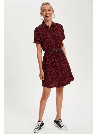 DeFacto Desenli Kısa Kollu Elbise Kırmızı